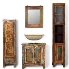 Wooden Vanity Cabinet Set Mirror Reclaimed Solid Wood Storage Bathroom Furniture