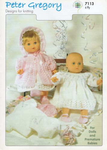 Peter Gregory Knitting Pattern 7113 Designs For Dolls /& Premature Babies In 4py