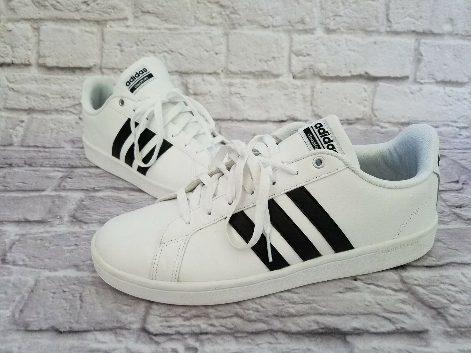 ADIDAS Size 10.5 NEO Cloudfoam Advantage Black Stripe Men's Shoes Style:  AW4294