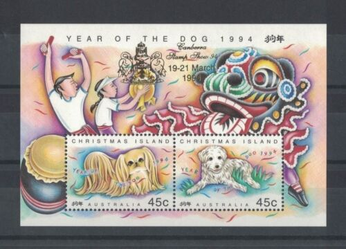 1994 Christmas Island Year of the Dog SG MS 388 Gold Overprint Canberra '94 muh
