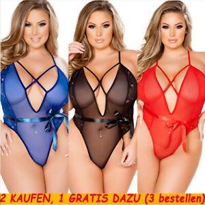 Übergröße Damen Sexy Mesh Reizwäsche Dessous Bodysuit Nachtwäsche Unterwäsche