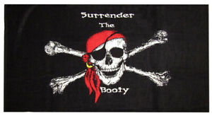 Jolly Roger Pirate Surrender The Booty 30 x 60 Beach Towel Cotton Twill
