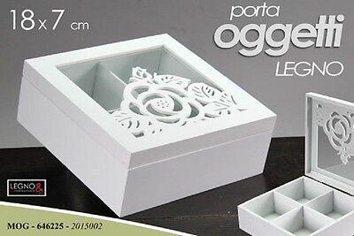 Inventive Porta Oggetti In Legno Bianco Decorato 18*7 Cm Mog-646225 Home & Garden