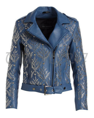 Rivetti argento Nm borchie in Nuove pelle Brando donne Giacca borchiati blu pieno I4XUIpwqn1
