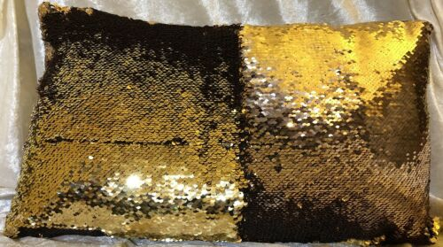 50cm x27cm Kissen mit Füllung Wendepailletten Paillettenkissen bunt Glitzer Deko