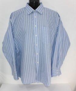 8a73fe2e0 Ted Baker London Men s Blue White Cotton Striped Dress Shirt Size ...
