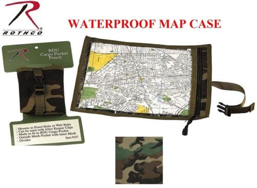 Woodland Camo militarytactical impermeable mapa /& Documento Estuche Petaca Rothco 9195