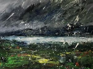 ORIGINAL-PAINTING-Acrylic-On-Canvas-Storm-Over-Welsh-Coast-40x30cm