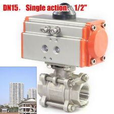 12 Inch Pneumatic Air Actuated Stainless 3 Pieces Ball Valve Single Acting Usa