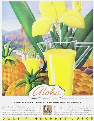 DOLE PINEAPPLE JUICE 1920 OLD ADVERT LARGE METAL TIN SIGN POSTER VINTAGE STYLE