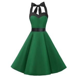 Women-039-s-50s-Vintage-Rockabilly-Halter-Neck-Dress-Swing-Party-Cocktail-Gown