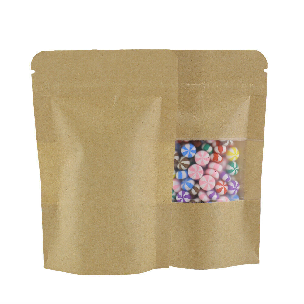 9x14CM Heavy Duty Grip Seal Bags Stand Up Pouch Brown Craft Paper with Window