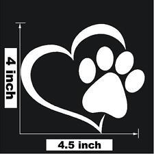 Paw Print With Heart Dog Cat Vinyl Decal Car Window Bumper Sticker D1