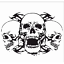 Universal Car Hood Triple Skull Graphics Black Vinyl Decals Stickers Waterproof