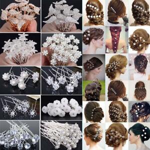 20-40Pcs-Lot-Wedding-Bridal-Pearl-Rose-Flower-Hair-Pins-Crystal-Rhinestone-Clips