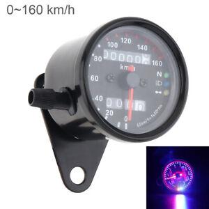 black Universal Dual Odometer KMH Speedometer Gauge LED Backlight Signal Motorcycle For Honda Yamaha Suzuki Kawasaki Cruiser Chopper Cafe Racer Old School Bobber Touring