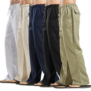 2019-Casual-Men-039-s-Drawstring-Straight-Solid-Pants-Loose-Cotton-Linen-Trousers-SF
