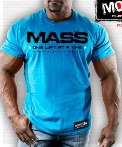 ONE LIFT AT A TIME Bodybuilding Gym Tee Blue NEW Men/'s Monsta Clothing MASS