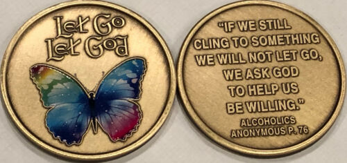 Let Go Let God Butterfly Color AA Medallion Willingness Sobriety Chip Coin