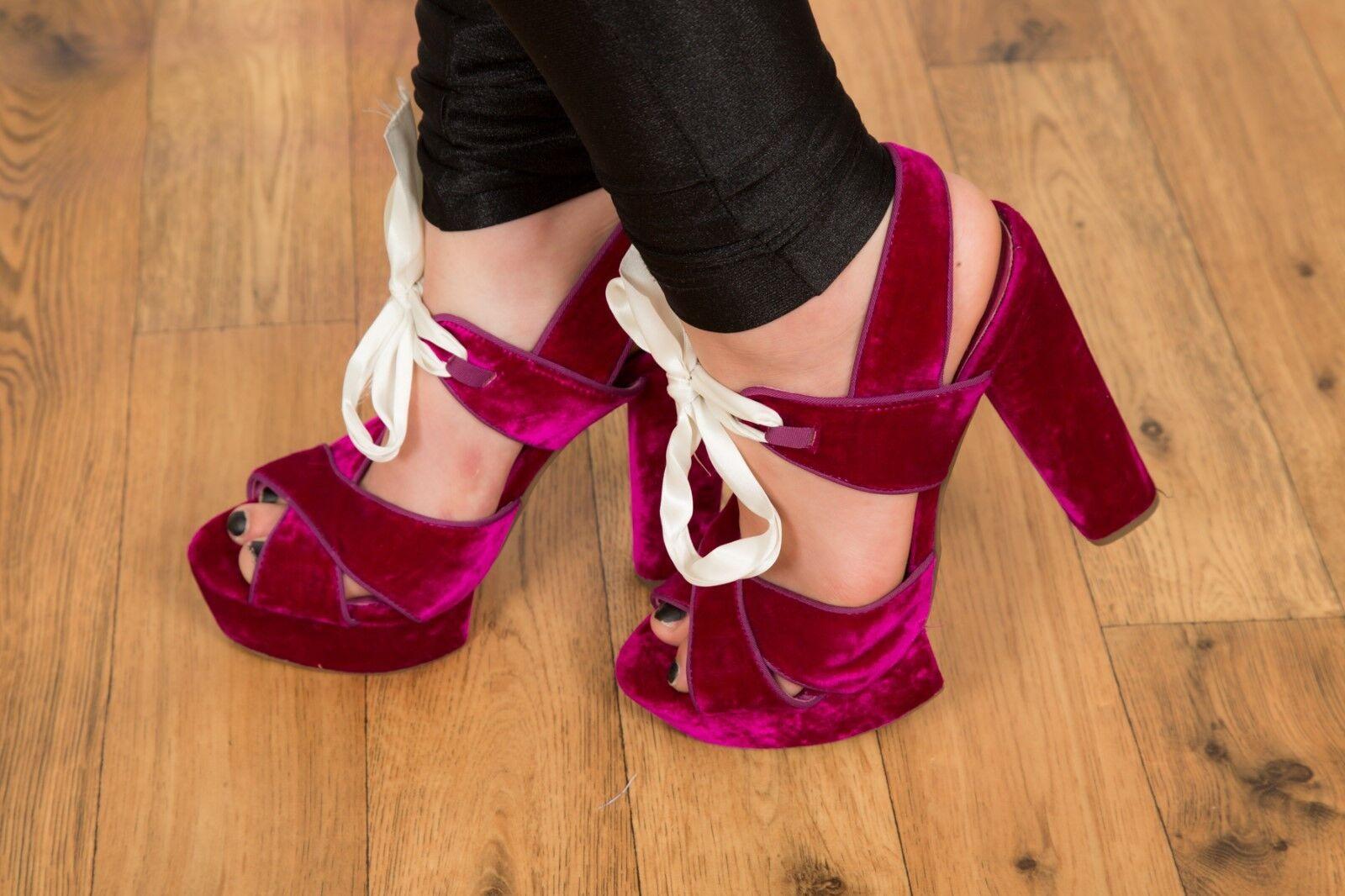 Rosay lila velvet ribbon lace up open toe platform platform platform heels TOPSHOP Größe 8 e52d9b