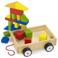 Wooden Wonders Take-along Building Block Wagon Kids Toy Child Recreation Fun