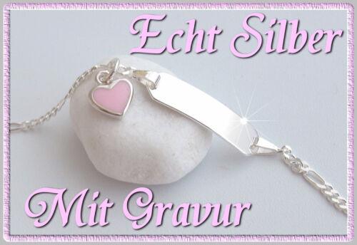 Herz Baby Armkette Armband mit Wunsch Gravur Name Geburt Echt silber Taufe NEU