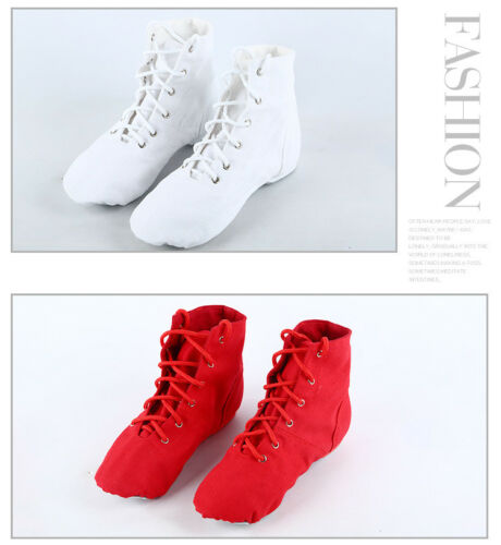 Women Flat Round Toe Canvas Jazz Ballet Dance Shoes Lace Up Boots Dancing Shoes