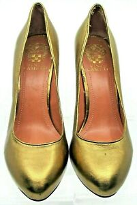 Vince-Camuto-Festa-Pump-Womens-7-5B-Bronze-Metallic-Leather-Hidden-Platform-Heel