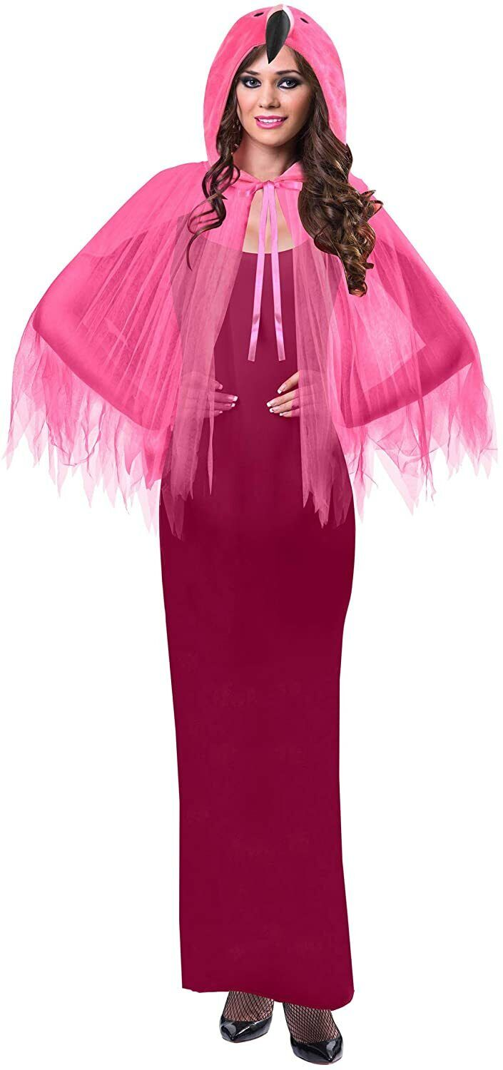 Adult Ladies Flamingo Hooded Cape One Size Only TU Fancy Dress Costume Pink Poly