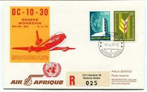 Ffc 1977 Air Afrique Special Flight Geneve Monrovia Registered Swissair Onu