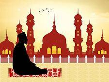 PAINTING DRAWING FAITH ISLAM MOSQUE MECCA PRAYER MAT ART PRINT POSTER MP3741A