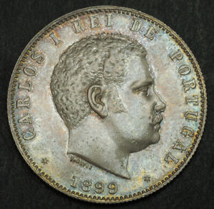 1899-Kingdom-of-Portugal-Charles-I-Large-Silver-1000-Reis-Coin-XF-AU