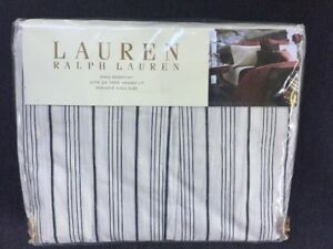 Ralph-Lauren-Home-BLEECKER-STREET-King-Size-Bed-Skirt-Black-Cream-Striped-NIP