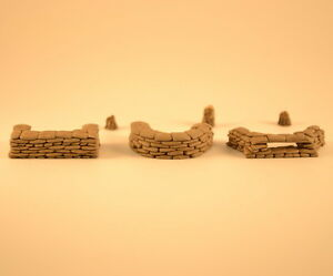 Sandbags Wall Emplacement 1/72 Plaster 3pcs + 3 stumps Produits MP Wargame #7209