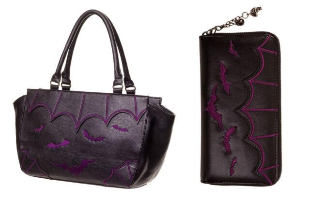 BANNED Bats Faux Leather HANDBAG & WALLET SET Shoulder Goth Vampire Black PURPLE