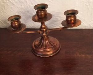 Home Decor Copper Centerpiece Fantasy Copperwork Candle Holder Tripod Candlestick Holder Vintage 70/'s Copper Candleholder