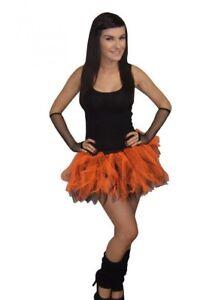 Neon-Orange-Black-Tutu-Legwarmers-amp-Gloves-Halloween-80S-Fancy-Dress-DISCO-DANCE