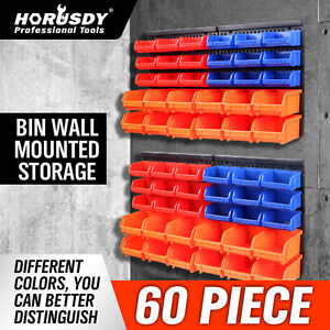 HORUSDY 30 Wall Mounted Storage Bin Rack Workshop Parts Nuts Bolts Organizer Containers