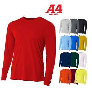 A4-Men-039-s-Moisture-Wicking-Tech-Long-Sleeve-Resistant-T-Shirt-N3165-UPF-44-UV