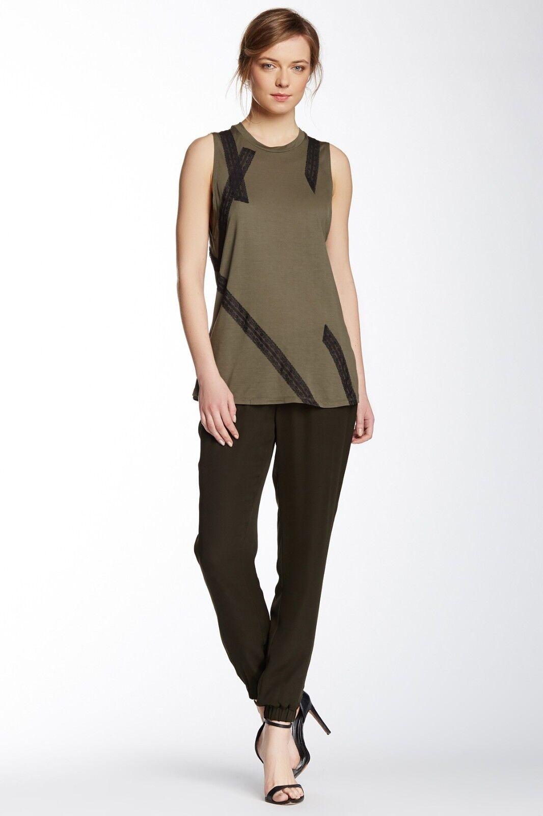 Haute Hippie Dark Military Drawstrings Silk Pants  Size XS