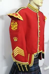 Pipe Major Red Blazer Doublet Gold Braid White Piping Fancy Collar