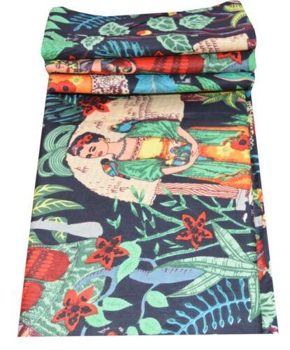 Indian Cotton 5 Yard Fabric Frida Kahlo Print Handmade Running Sewing Material