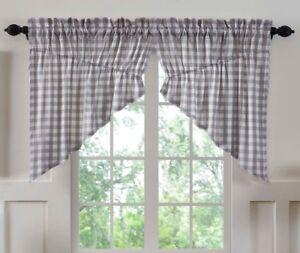 ANNIE BUFFALO TAN CHECK Prairie Curtain Set Farmhouse Cotton Primitive VHC
