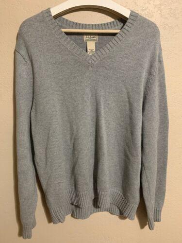 L.L. Bean Sweater Gray Mens V Neck L Large ll Bean