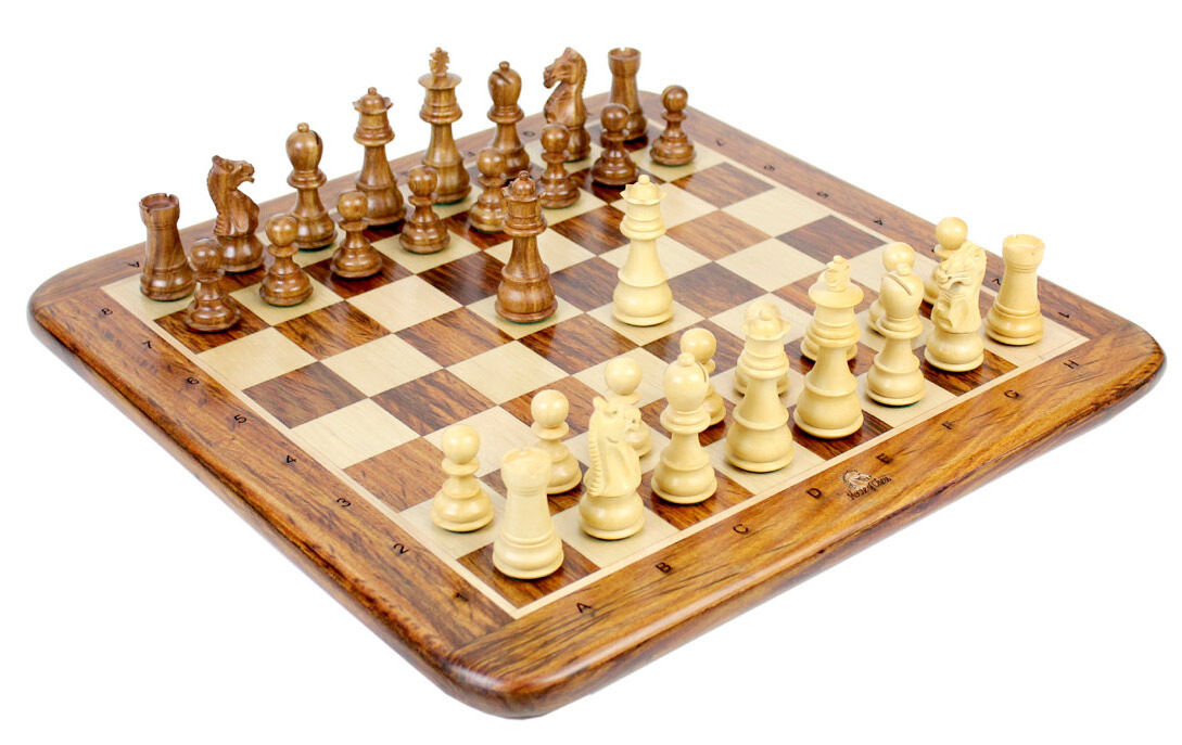 Wooden Chess Set Pieces golden pinkwood Galaxy Staunton Size 3  + Chess Board