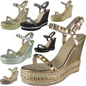 Womens-Ladies-Studded-Ankle-Strap-Espadrilles-Platform-Shoes-Wedge-Sandals-Size