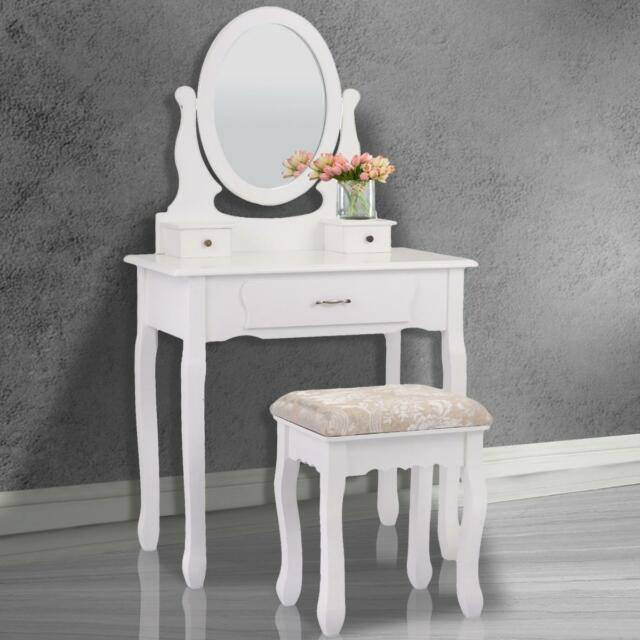 Vanity Makeup Dressing Table Set Jewelry Oval Mirror Desk Stool w// 3 Drawers