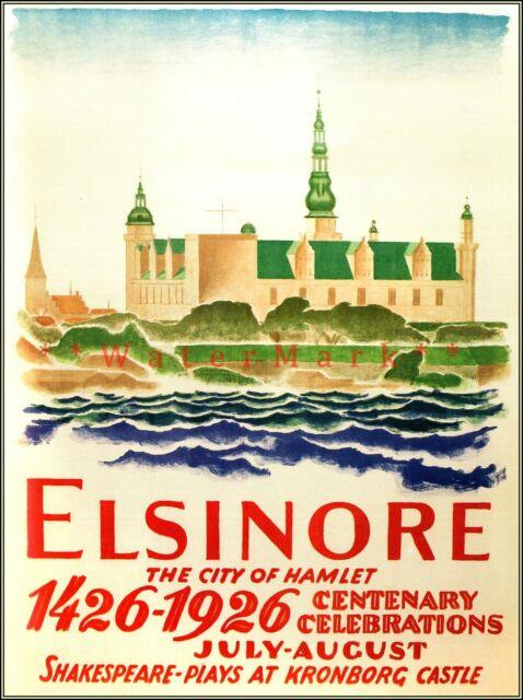 Denmark Elsinore 1926 City Of Hamlet Vintage Poster Print ...