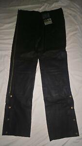 NEW Vintage USA Bikers Dream Apparel Leather Black Motorcycle Pants Mens 36 38