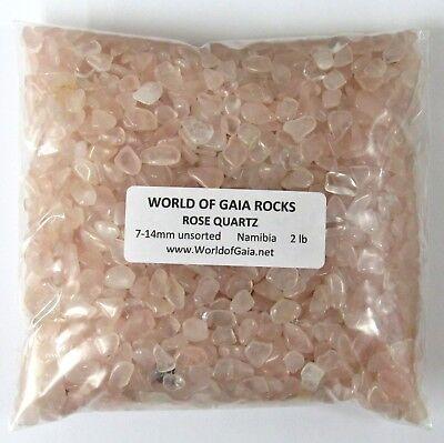 ROSE QUARTZ pink, 7-14mm tumbled 2 lb bulk xmini+ stones SAVE 20%